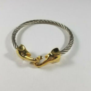 Silver Gold Tone Interlocking Elephant Bracelet